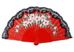 Wooden Red Fan with Painted Flowers and Lace 9.090€ #503282367