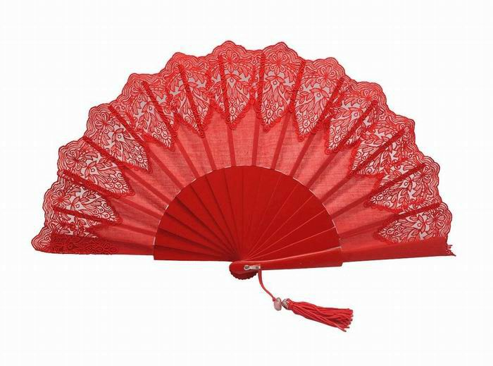 Red Lace Fan for Ceremony. Ref. 1740