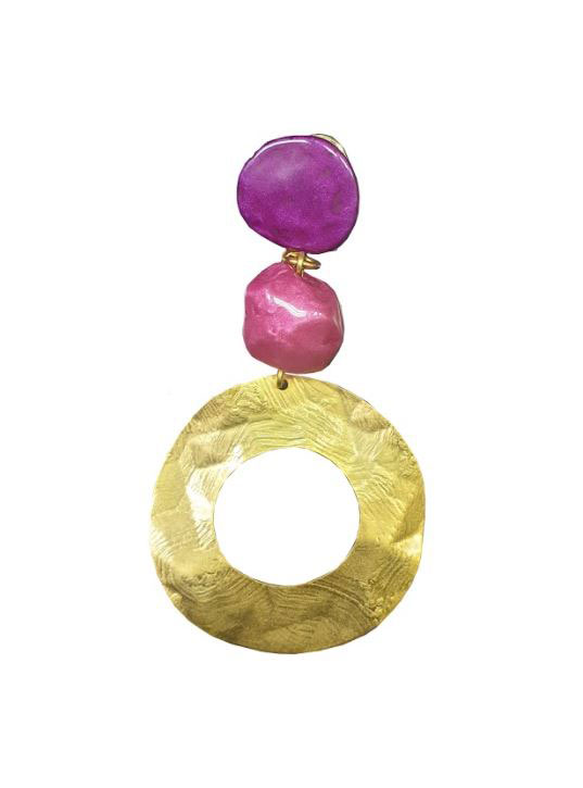 Golden Pleated Hoop Earrings with Bougainvillea and Cardinal Resin Stones