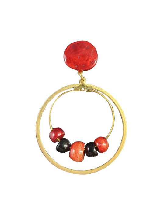 Double Gold Hoop Earrings with Red and Black Stones