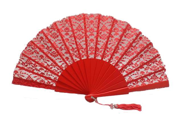 Red lace ceremony fan  Ref. 1384