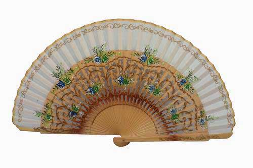 Natural wooden fan with fretwork and floral motifs