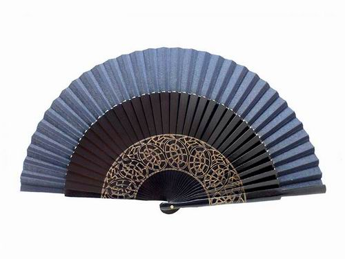 Navy blue sycamore wood laser engraved fan