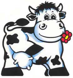 Cow with flower - Sticker