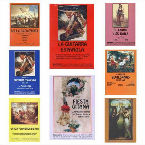 8-DVDs Pack. Sevillian dance for beginners, the Cajon and its dance, Flamenco dance, Classical spanish dance, Spanish guitar for beginners, La Guitarra Española, Gipsy party, Flamenco Gym