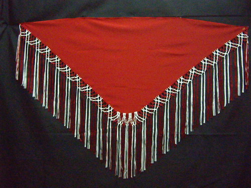 Handmade shawls with Red and White fringes. Cala